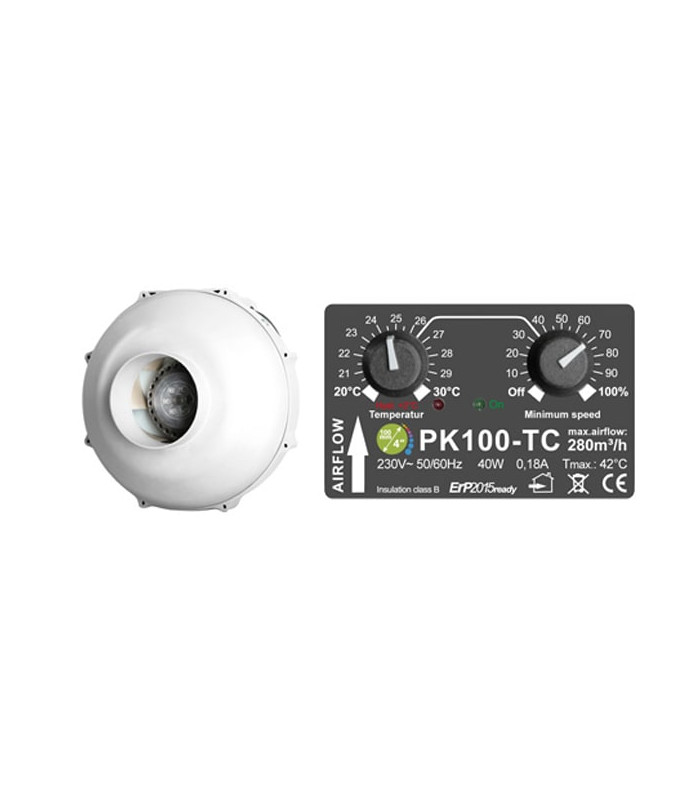 PK PK100-TC fan with controller 280m³/h ø100mm